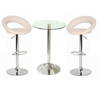 An Image of Gino Bar Table In Clear Glass And 2 Leoni Bar Stools In Cream