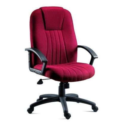 An Image of Cromer Home Office Chair In Red Fabric With Castors