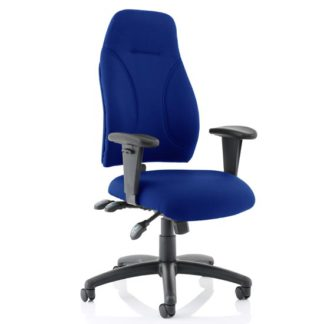 An Image of Esme Fabric Posture Office Chair In Blue With Arms