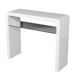 An Image of Norset Medium Console Table In White Gloss With 1 Glass Shelf