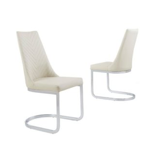 An Image of Roxy Modern Dining Chair In Cream Faux Leather in A Pair