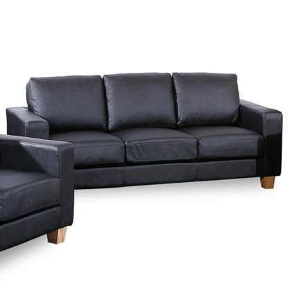 An Image of Wasp PU Leather 3 Seater Sofa In Black