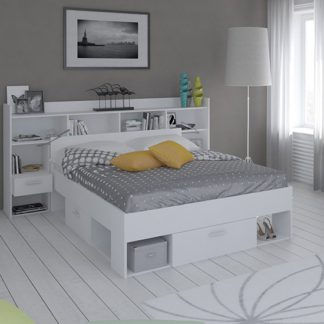 An Image of Chigona Overhead Storage Double Bed In Matt White With Drawers