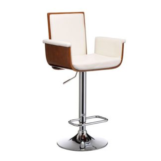 An Image of Pique Bar Stool In White Faux Leather And Walnut