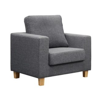 An Image of Wasp Linen Fabric 1 Seater Sofa In Dark Grey