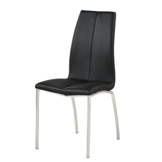 An Image of Opal Dining Chair In Black Faux Leather With Chrome Base