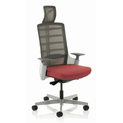 An Image of Exo Charcoal Grey Back Office Chair With Ginseng Chilli Seat