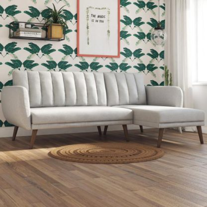 An Image of Brittany Linen Sectional Sofa Bed In Light Grey With Wooden Legs