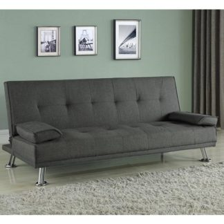 An Image of Carmen Fabric Sofa Bed In Grey With Chrome Legs