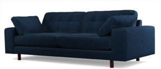 An Image of Content by Terence Conran Tobias, 3 Seater Sofa, Plush Indigo Velvet, Dark Wood Leg