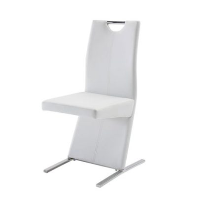 An Image of Image Dining Chair In Faux Leather White