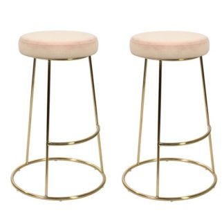 An Image of Opera Pink Finish Bar Stool In Pair