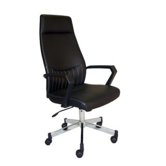 An Image of Sheldon High Back Office Chair In Black PU With Wheels