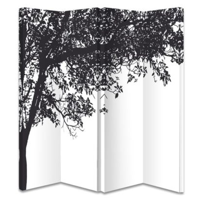 An Image of Trees Black And White Room Divider