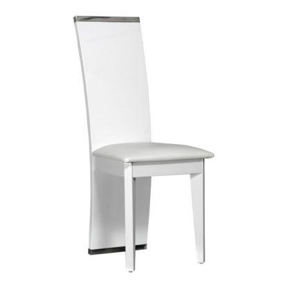 An Image of Smooth White Faux Leather Dining Chair With High Gloss Frame