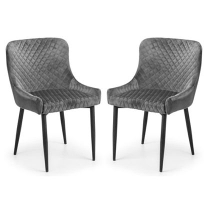 An Image of Luxe Grey Velvet Dining Chair In Pair