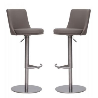 An Image of Fabio Bar Stools In Taupe Faux Leather In A Pair