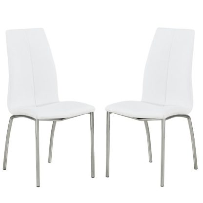 An Image of Opal Dining Chair In White Faux Leather In A Pair
