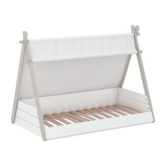An Image of Irving Wooden Childrens Bed In Pearl White And Taupe