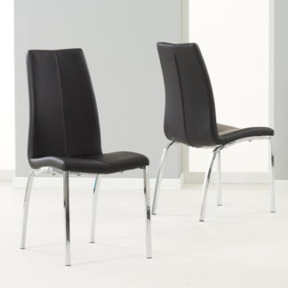 An Image of Lupus Black Leather Dining Chairs In Pair