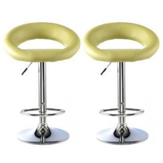 An Image of Murry Lime Faux Leather Bar Stools In Pair With Chrome Base
