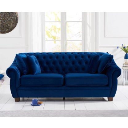 An Image of Sylvan Chesterfield Fabric 3 Seater Sofa In Blue Plush