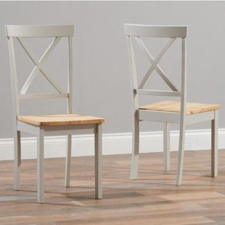 An Image of Chertan Wooden Oak And Grey Dining Chairs In Pair