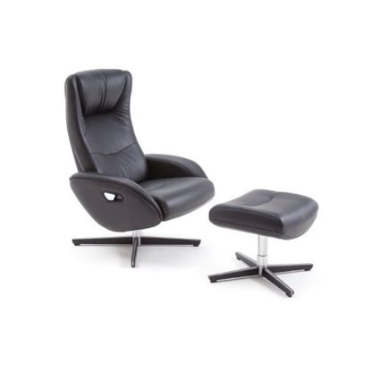 An Image of Deneb Recliner Leather Armchair In Black With Footstool