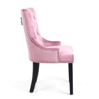 An Image of Robbyn Accent Chair In Pink Velvet With Black Rubberwood Legs