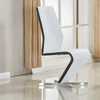 An Image of Gia Dining Chair In White Black Faux Leather With Chrome Base