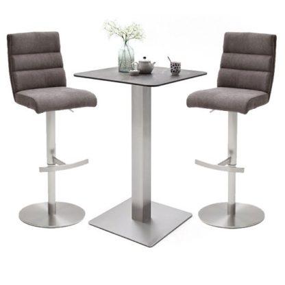 An Image of Soho Glass Bar Table With 2 Hiulia Brown Fabric Stools