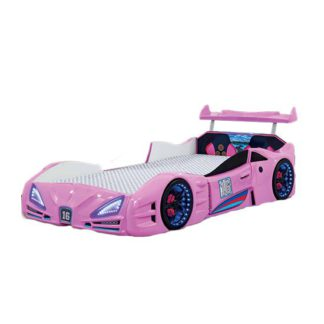An Image of Buggati Veron Childrens Car Bed In Pink With Spoiler And LED