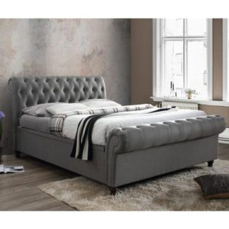 An Image of Castello Side Ottoman Super King Bed In Grey