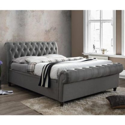 An Image of Castello Side Ottoman Double Bed In Grey