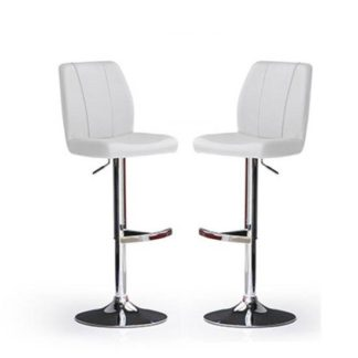 An Image of Naomi Bar Stools In White Faux Leather in A Pair