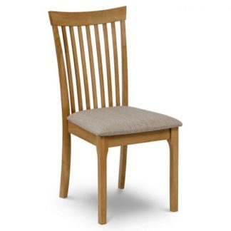 An Image of Lino Wooden Dining Chair With Fabric Seat In Oak Lacquer