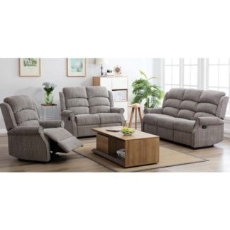An Image of Tegmine 3 Seater Sofa And 2 Armchairs Reclining Suite In Latte