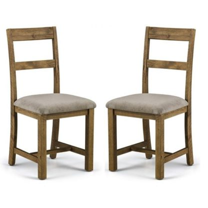 An Image of Alecia Wooden Dining Chairs In Rough Sawn Pine In A Pair