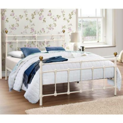 An Image of Atlas Steel Small Double Bed In Cream