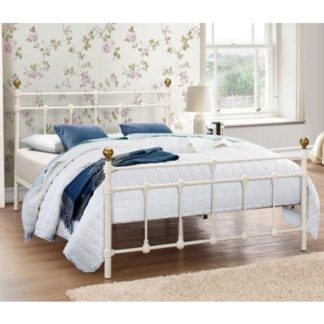 An Image of Atlas Steel Double Bed In Cream