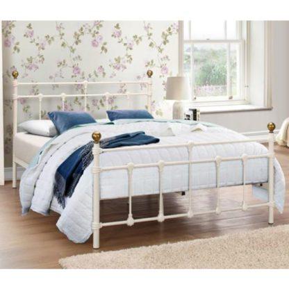 An Image of Atlas Steel Double Bed In Cream