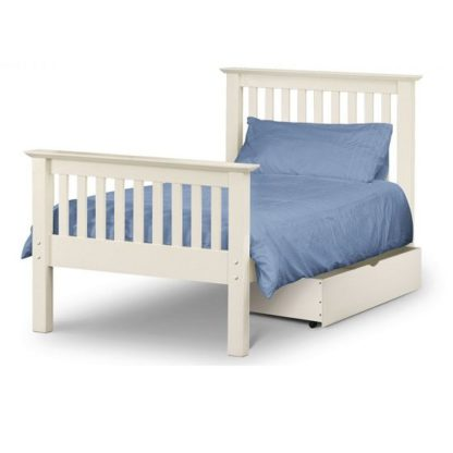 An Image of Velva Wooden Single High Foot Bed In Stone White