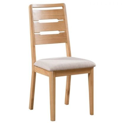 An Image of Holborn Wooden Dining Chair In Oak With Padded Linen Seat