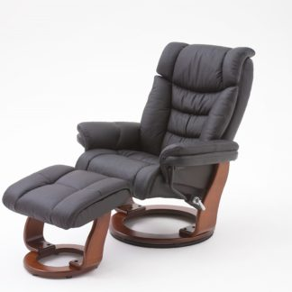 An Image of Toronto Swivel Relax Chair Black Faux Leather And Footstool