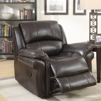 An Image of Claton Recliner Sofa Chair In Brown Faux Leather