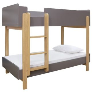 An Image of Marisol Wooden Bunk Bed In Matt Grey And Oak