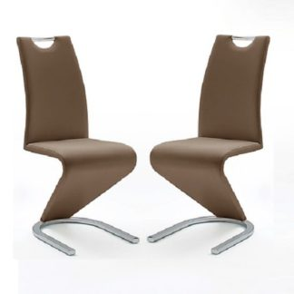 An Image of Amado Z Brown Faux Leather Dining Chair In A Pair