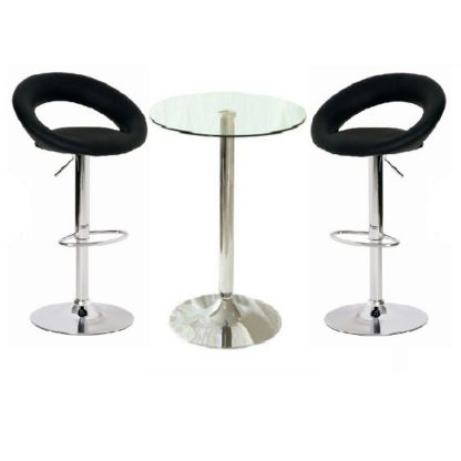 An Image of Gino Bar Table In Clear Glass And 2 Leoni Bar Stools In Black
