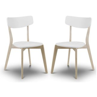 An Image of Bramley Dining Chairs In White With Oak Effect Legs In A Pair