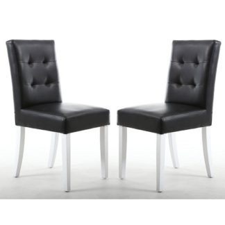 An Image of Artois Dining Chair In Black Matt Bonded Leather With White Legs